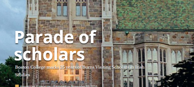 Burns Scholar, Boston College: Applications Invited.