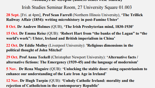 Autumn 2018 seminar series. Queen´s University Belfast