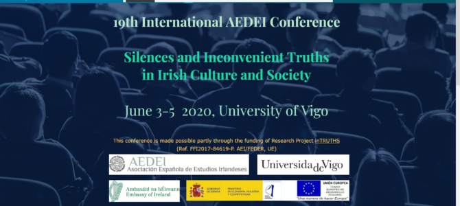 Website for the forthcoming 19th International Conference of the Spanish Association for Irish Studies Vigo 2020
